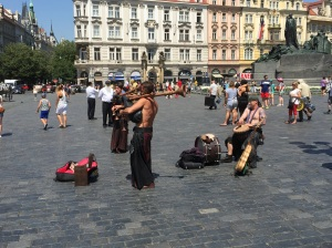 Entertainment in the central square in Prague. They are wearing leather maxi dresses playing bagpipes. Again, that's all I know