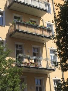 Flowerpots on balconies